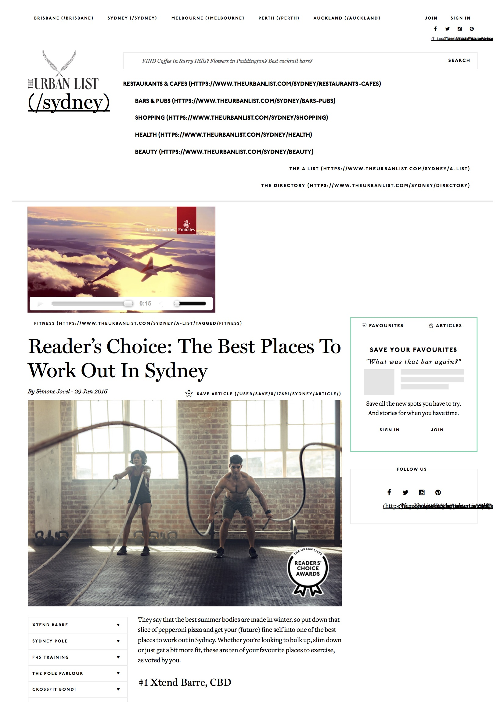 At Ruben's Voted Top 10 in Sydney Places to workout